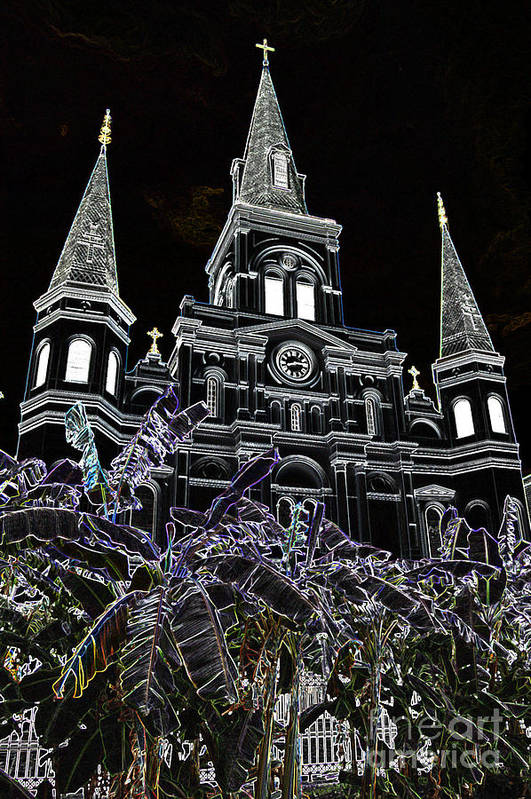 Travelpixpro New Orleans Art Print featuring the digital art St Louis Cathedral Rising Above Palms Jackson Square New Orleans Glowing Edges Digital Art by Shawn O'Brien