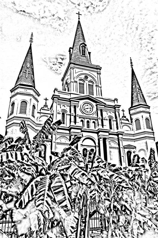 Travelpixpro New Orleans Art Print featuring the digital art St Louis Cathedral Rising Above Palms Jackson Square New Orleans Photocopy Digital Art by Shawn O'Brien