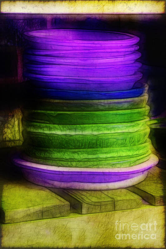 Purple Art Print featuring the photograph Stack Of Saucers by Judi Bagwell
