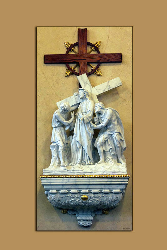 Statue Art Print featuring the digital art Station Of The Cross 02 by Thomas Woolworth