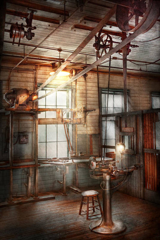 Steampunk Art Print featuring the photograph Steampunk - Machinist - The Grinding Station by Mike Savad