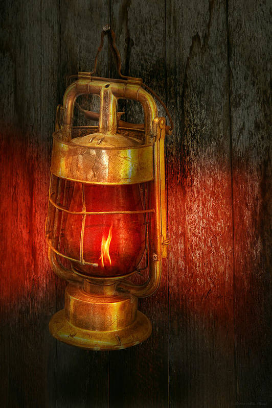 Redlight Art Print featuring the photograph Steampunk - Red Light District by Mike Savad