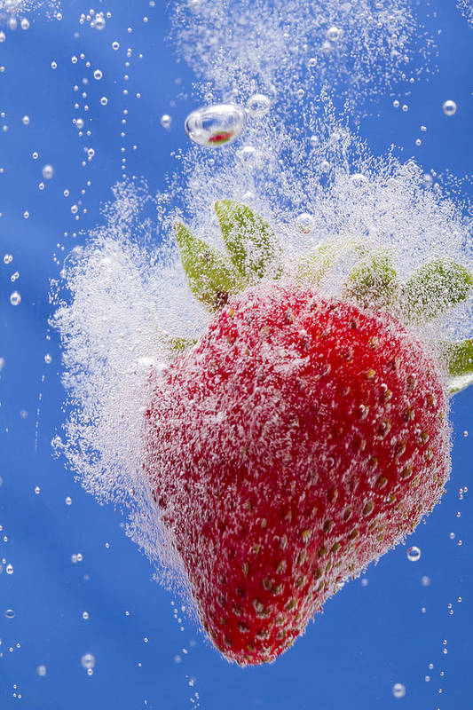 Red Art Print featuring the photograph Strawberry Soda Dunk 1 by John Brueske