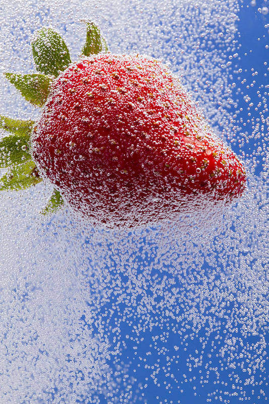 Red Art Print featuring the photograph Strawberry Soda Dunk 2 by John Brueske