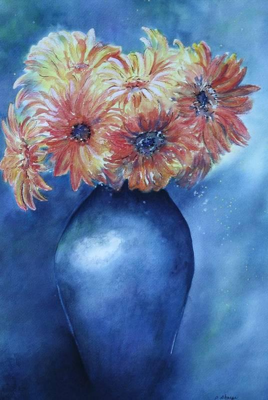 Sunburst Floral Still Life Art Print featuring the painting Sunrise by Patsy Sharpe
