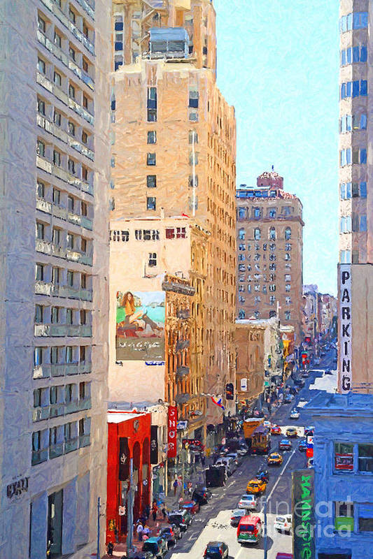San Francisco Art Print featuring the photograph Sutter Street San Francisco by Wingsdomain Art and Photography