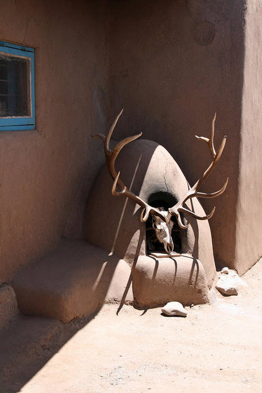 Taos Art Print featuring the photograph Taos Horno And Antlers by Elizabeth Rose