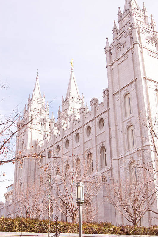 Mormon Art Print featuring the photograph Temple Mormon In Temple Square by Maria isabel Villamonte