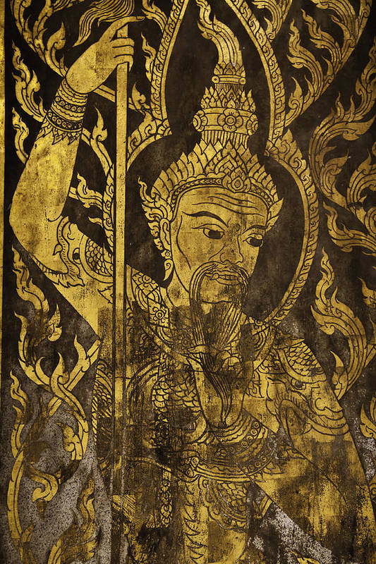 The Holy Angel Painting At The Temple Door. It Is Believed To Protect The Lord Buddha. Art Print featuring the photograph The Angel by Wittaya Uengsuwanpanich