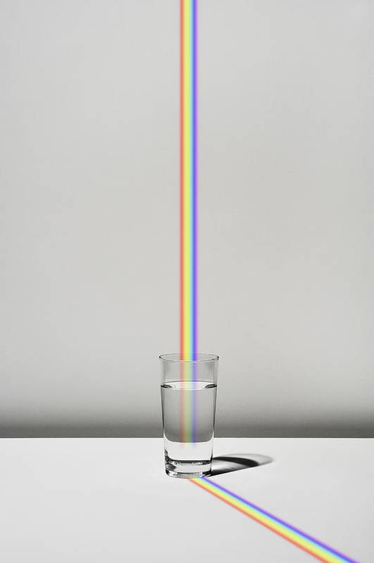 Vertical Art Print featuring the digital art The Cup Filled With Water And A Rainbow by Yagi Studio