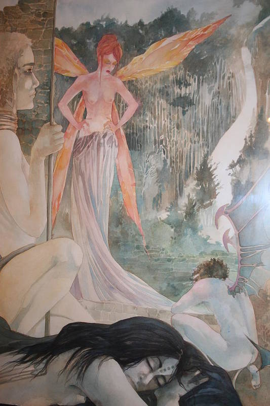 Fairies Demons Dreams Sleep  Art Print featuring the drawing The Exile by Jackie Rock
