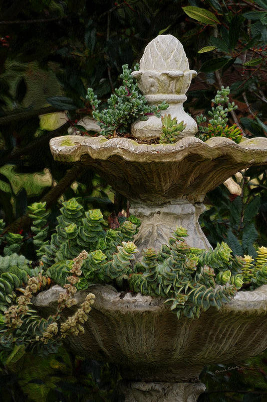 Fountain Art Print featuring the photograph The Fountain Painterly by Ernie Echols