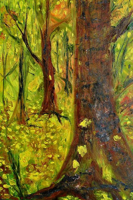 Landscape Art Print featuring the painting The Golden Forest by Evelina Popilian