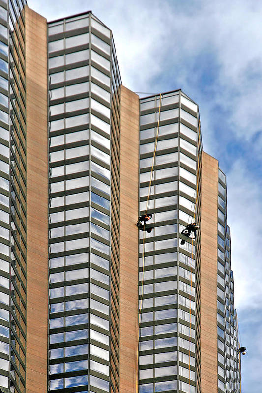Chicago Art Print featuring the photograph The Loneliness Of The Skyscraper Window Cleaner by Christine Till