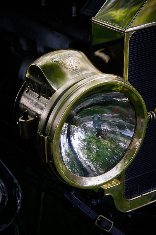 Vintage Ford Art Print featuring the photograph The Old Brass Ford Headlight by Steve McKinzie
