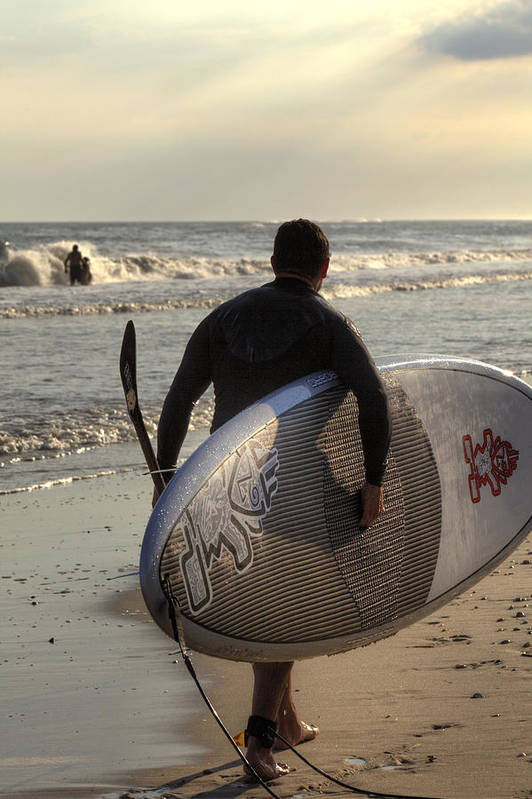 Atlantic Ocean Art Print featuring the photograph The Paddleboarder by Steve Gravano