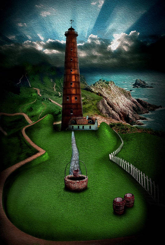 Lighthouse Art Print featuring the digital art The Sound Of Silence by Alessandro Della Pietra