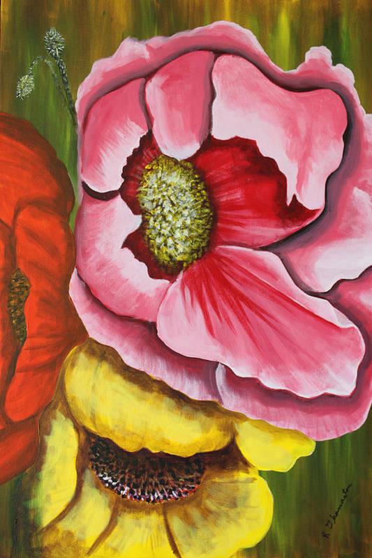 Floral Framed Prints Art Print featuring the painting Three Strange Poppys by Robert Thomaston