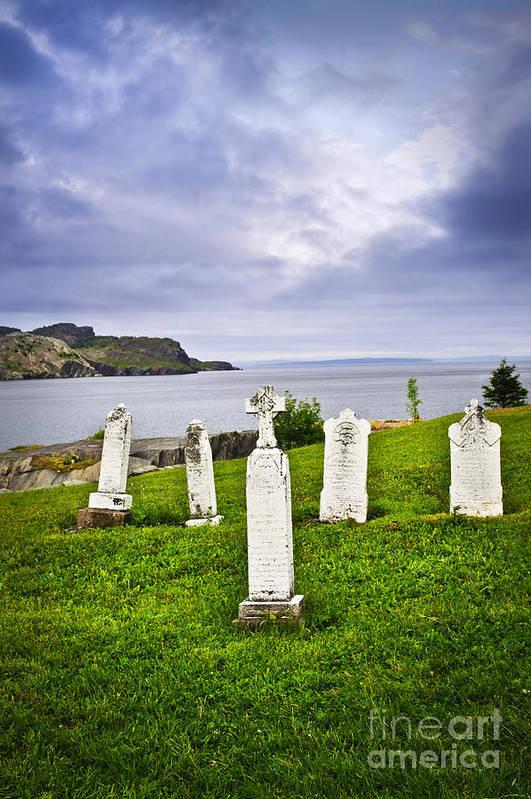 Graveyard Print featuring the photograph Tombstones Near Atlantic Coast In Newfoundland by Elena Elisseeva