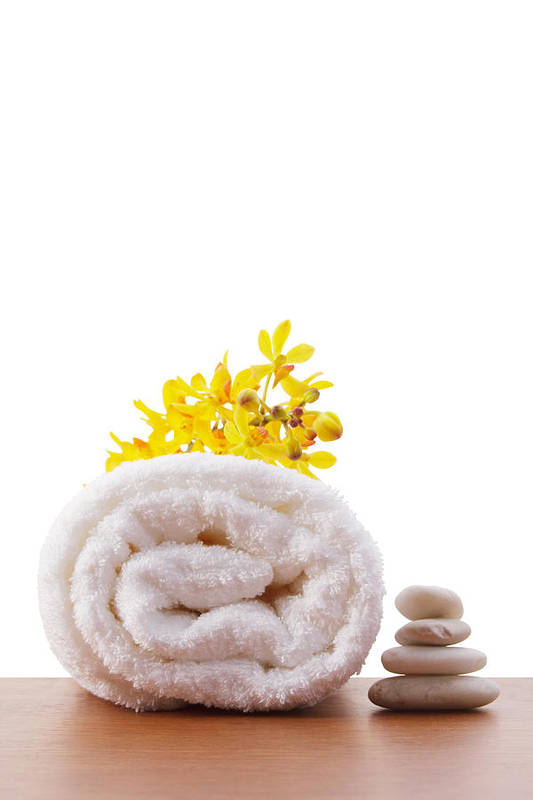 Spa-treatment Art Print featuring the photograph Towel Roll by Atiketta Sangasaeng