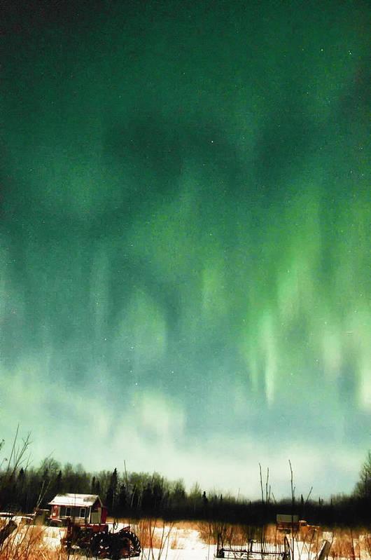 Aurora Borealis Art Print featuring the photograph Tractor Aurora by Marie Fierek