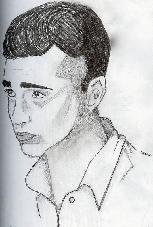 Young Man Art Print featuring the drawing Upward Gaze by Rebecca Wood