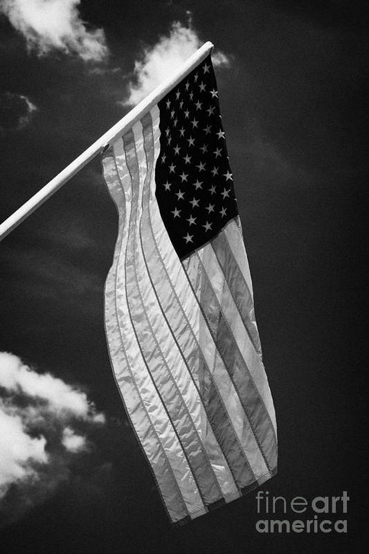 American Art Print featuring the photograph Us American Flag On Flagpole Against Blue Cloudy Sky Usa by Joe Fox