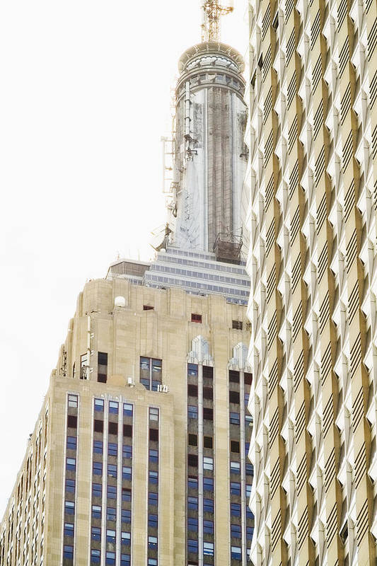 Vertical Art Print featuring the photograph Usa, New York City, Detail Of Empire State Building by Tetra Images