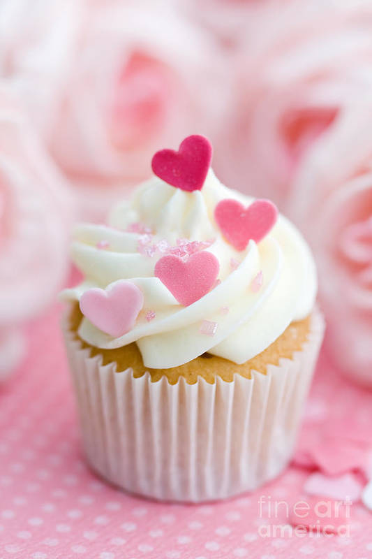 Cupcake Print featuring the photograph Valentine Cupcake by Ruth Black