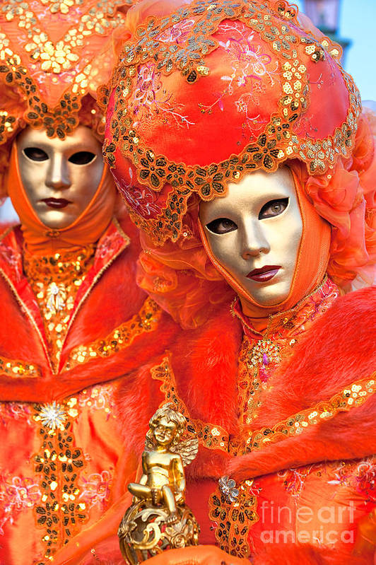 Carnaval Art Print featuring the photograph Venice Masks by Luciano Mortula