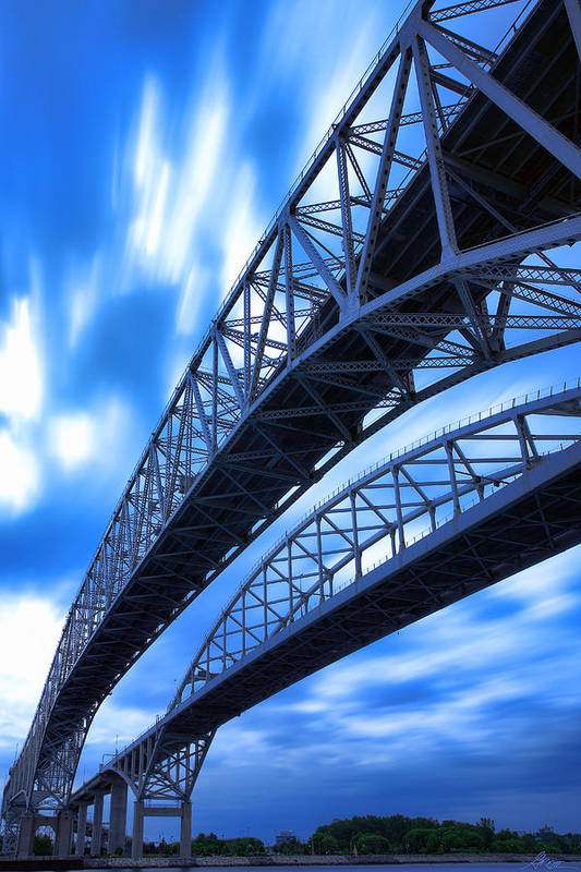 Port Art Print featuring the photograph Very Blue Water Bridge by Gordon Dean II