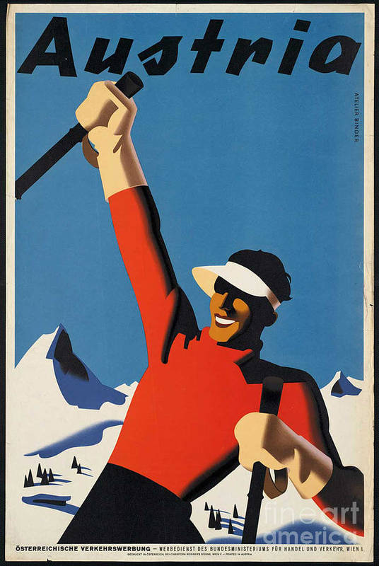 Ski Art Print featuring the photograph Vintage Austrian Skiing Travel Poster by George Pedro