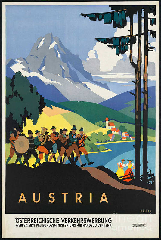 Austria Art Print featuring the photograph Vintage Austrian Travel Poster by George Pedro