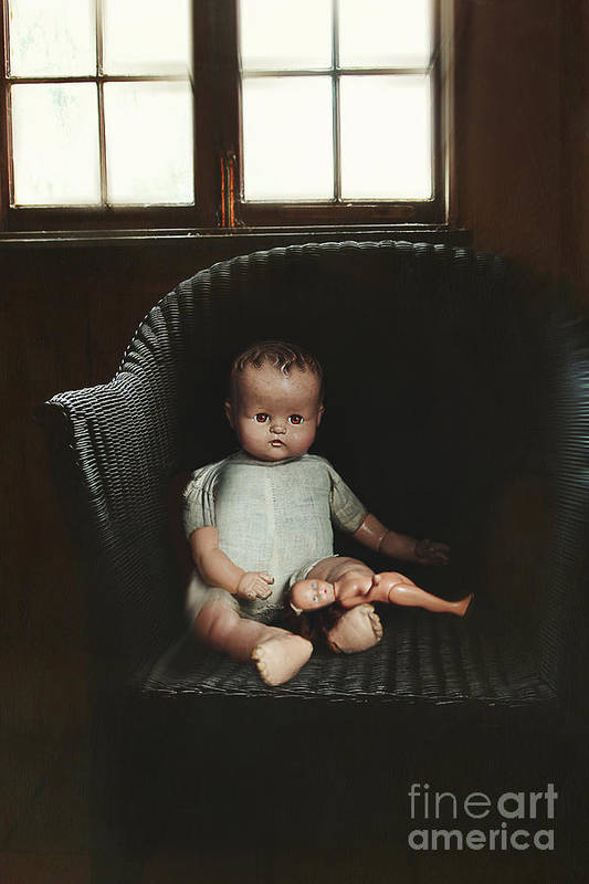 Atmosphere Art Print featuring the photograph Vintage Dolls On Chair In Dark Room by Sandra Cunningham