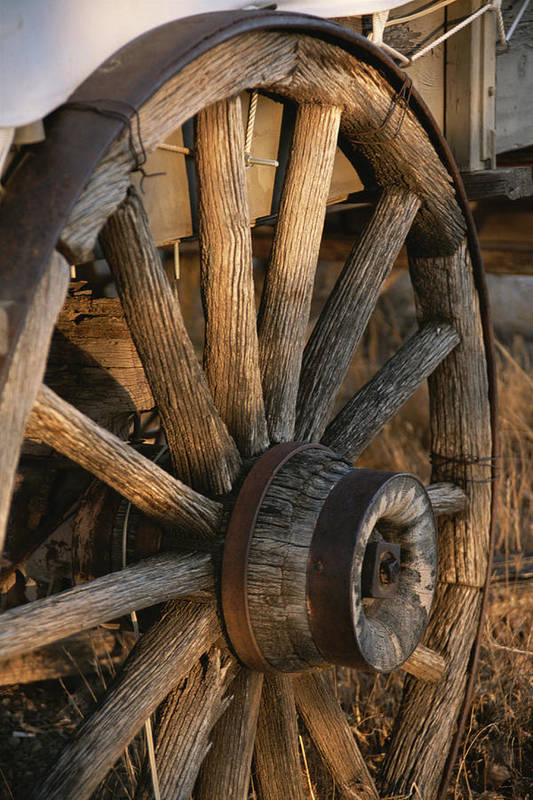 North America Art Print featuring the photograph Wagon Wheel On Covered Wagon At Bar 10 by Todd Gipstein