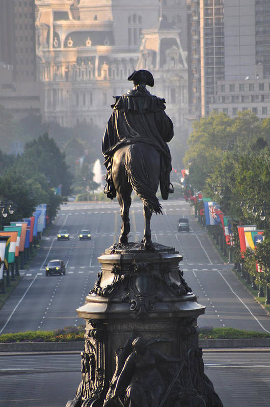 Philadelphia Art Print featuring the photograph Washington Looking Down The Parkway - Philadelphia by Bill Cannon