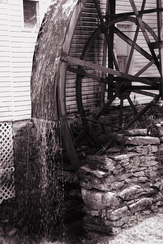 Mill Art Print featuring the photograph Water Wheel Old Mill Cherokee North Carolina by Susanne Van Hulst