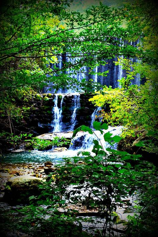 Water Art Print featuring the photograph Waterfall by Charles Covington
