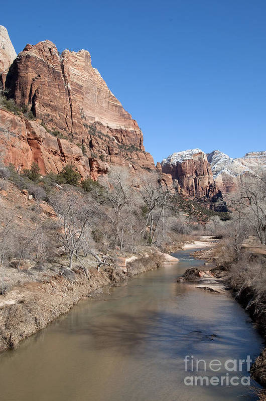 Landscape Art Print featuring the photograph Winter In Zion 2 by Bob and Nancy Kendrick