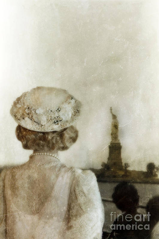Woman Print featuring the photograph Woman In Hat Viewing The Statue Of Liberty by Jill Battaglia