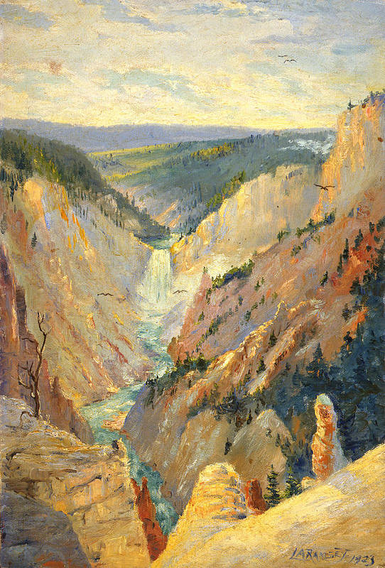 National Parks Art Print featuring the painting Yellowstone Falls And Hoodoos by Lewis A Ramsey