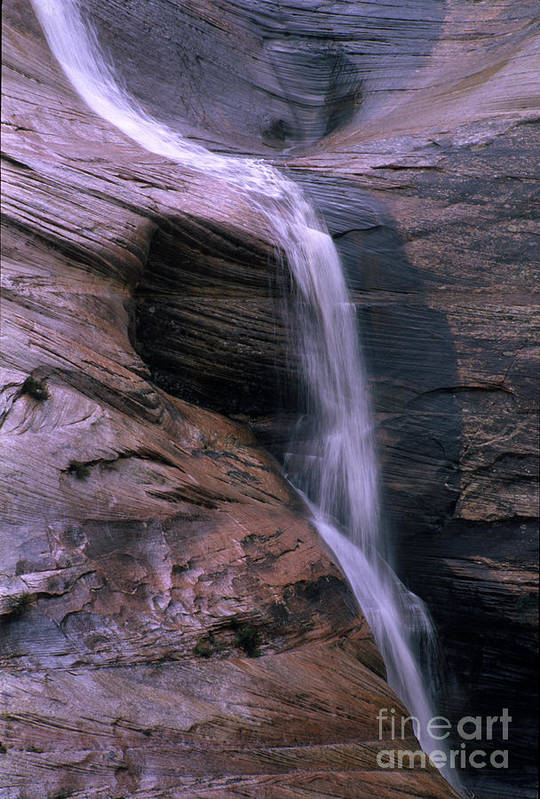 Southwest Art Print featuring the photograph Zion Summer Waterfall by Sandra Bronstein