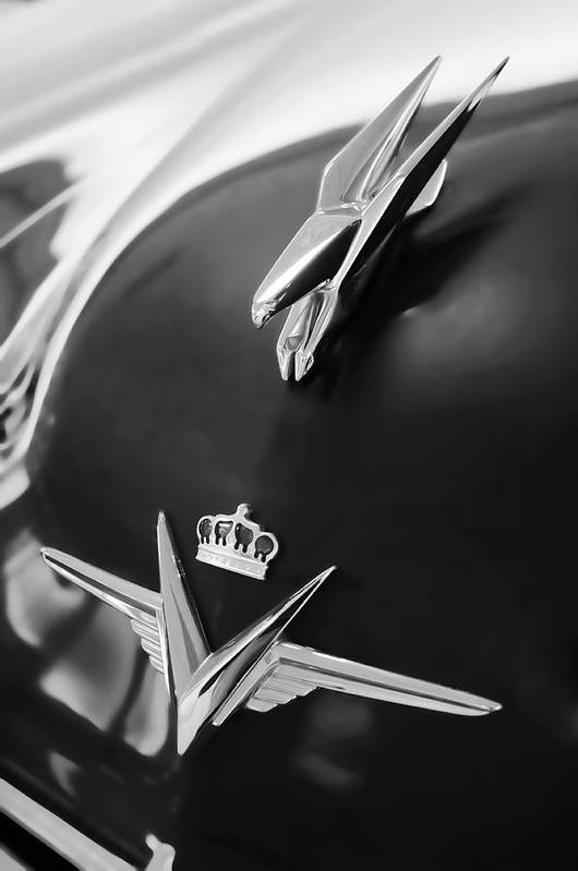 1954 Chrysler Imperial Sedan Art Print featuring the photograph 1954 Chrysler Imperial Sedan Hood Ornament 3 by Jill Reger