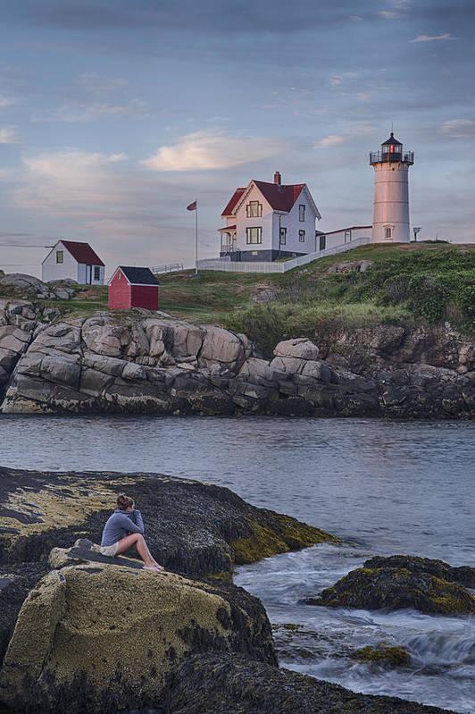 Cape Neddick Lighthouse Art Print featuring the photograph Cape Neddick Lighthouse by David DesRochers