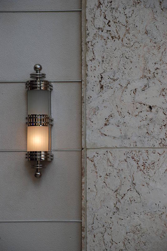 Sconce Art Print featuring the photograph Half Lit Wall Sconce by Rob Hans
