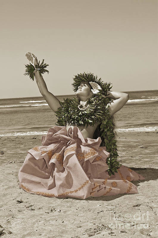 Afternoon Art Print featuring the photograph Hand Colored Hula by Himani - Printscapes