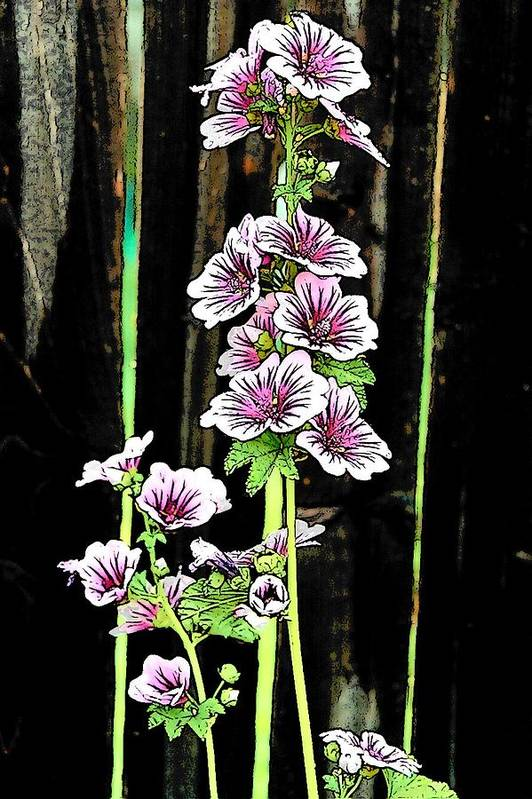Hollyhocks Art Print featuring the digital art Hollyhocks by Jennifer Englehardt