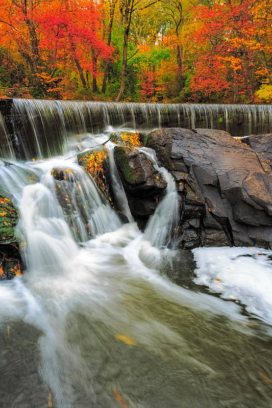 New England Art Print featuring the photograph Hunts Falls by Bryan Bzdula