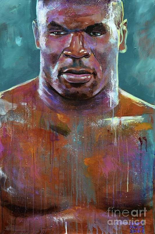 Mike Tyson Print featuring the painting Iron Mike by Robert Phelps