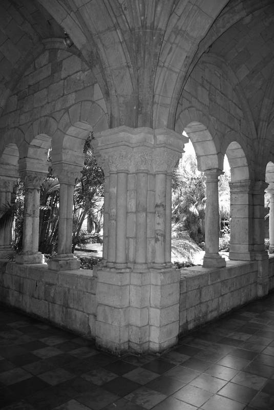 Black And White Art Print featuring the photograph Miami Monastery In Black And White by Rob Hans